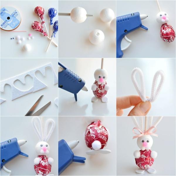 idée de bricolage pâques maternelle lapin en sucette