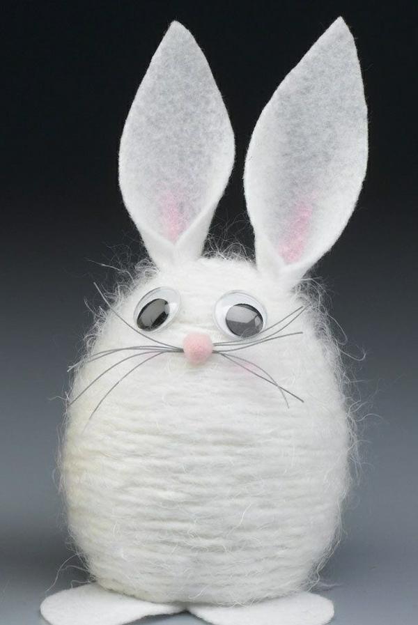 idée de bricolage pâques maternelle lapin feutrine fil de laine