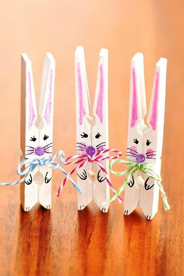 idée de bricolage pâques maternelle lapin pince à linge
