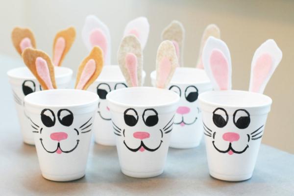 idée de bricolage pâques maternelle lapins gobelets à café mousse