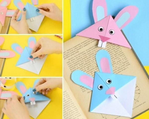 idée de bricolage pâques maternelle marque-page lapin origami