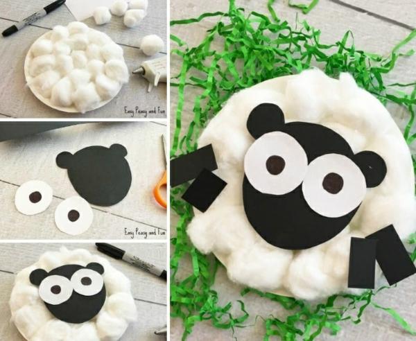 idée de bricolage pâques maternelle mouton papier tampons de coton