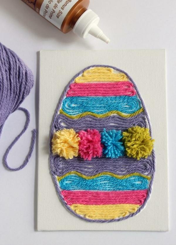 idée de bricolage pâques maternelle oeuf en fils colorés sur papier
