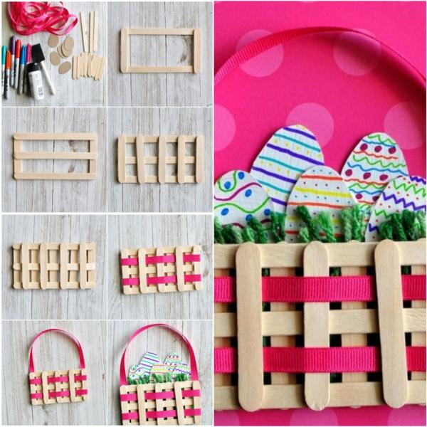 idée de bricolage pâques maternelle panier de pâques bâtonnets artisanat