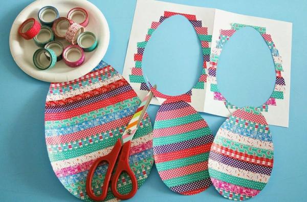 idée de bricolage pâques maternelle rubans colorés oeuf de pâques