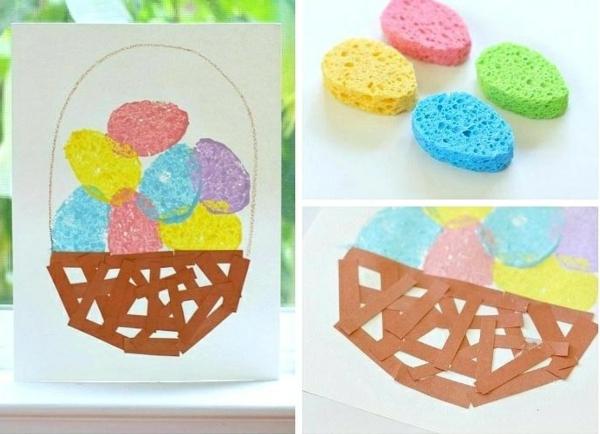 idée de bricolage pâques maternelle tampon encreur éponge de bain papier