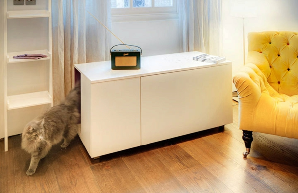 idée meuble cache litière dit armoire salon