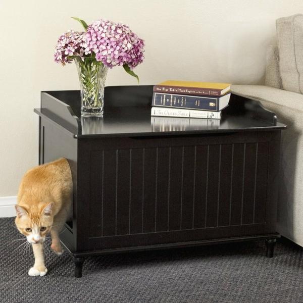 idée meuble cache litière diy table d'appoint salon