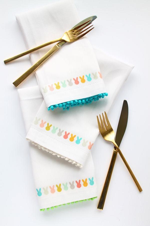 idées bricolage de Pâques maternelle serviettes imprimées