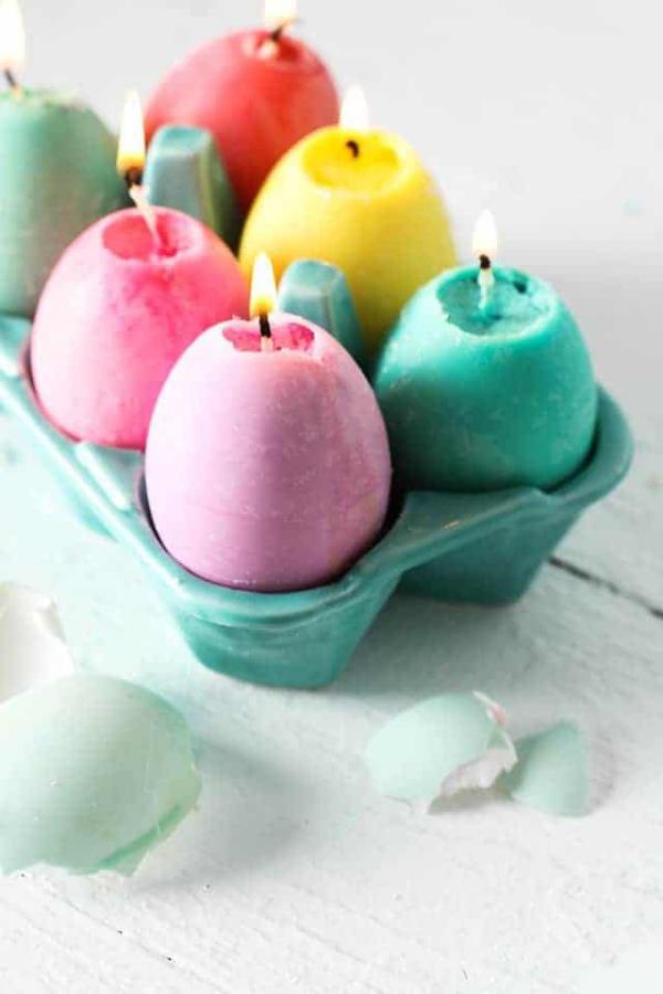 idées bricolage de Pâques maternellebougies de Pâques
