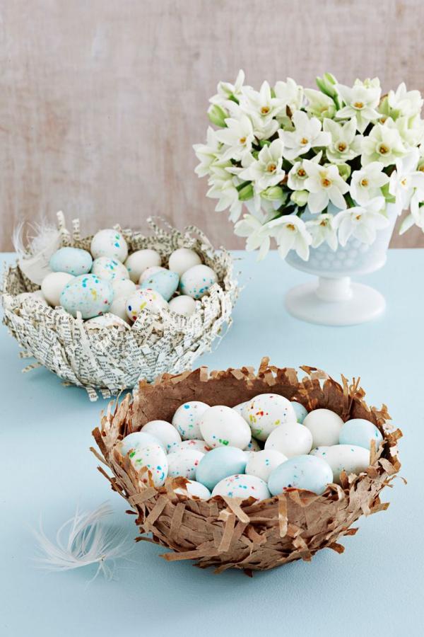 idées bricolage de Pâques maternelledes nids en papier mâché