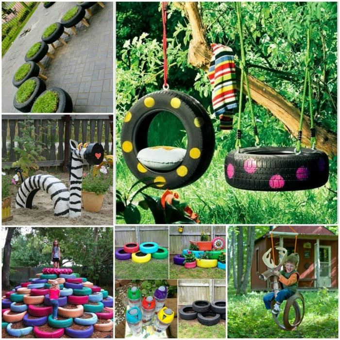 idées inspirantes déco jardin récup pneus