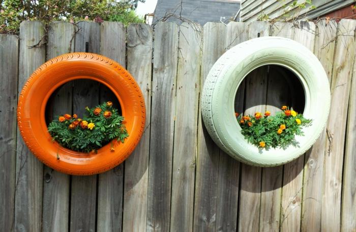 idées recyclage déco jardin récup pneus pour jardinières