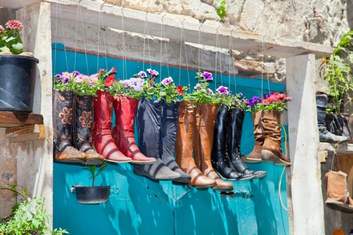 jardinières suspendues déco jardin récup