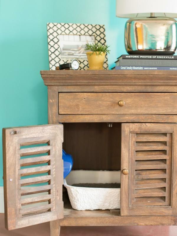 meuble cache litière fait à partir d'un mobilier de rangement