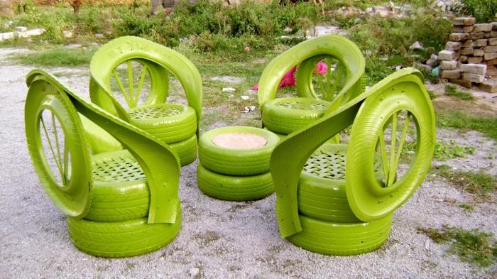 meubles à partir de pneus déco jardin récup
