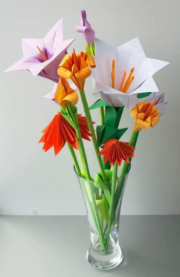 origami fleurs et animaux de printemps fleurs différentes