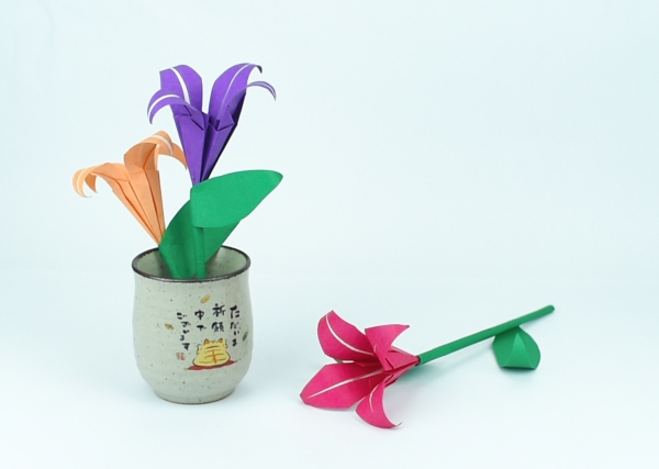 origami fleurs et animaux de printemps jolis lys