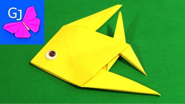 origami fleurs et animaux de printemps poisson jaune