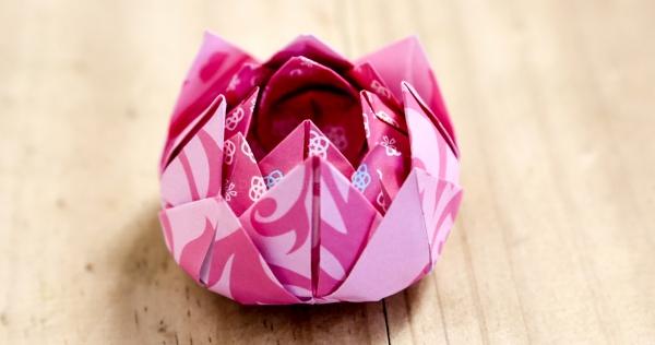 origami fleurs et animaux de printemps une rose