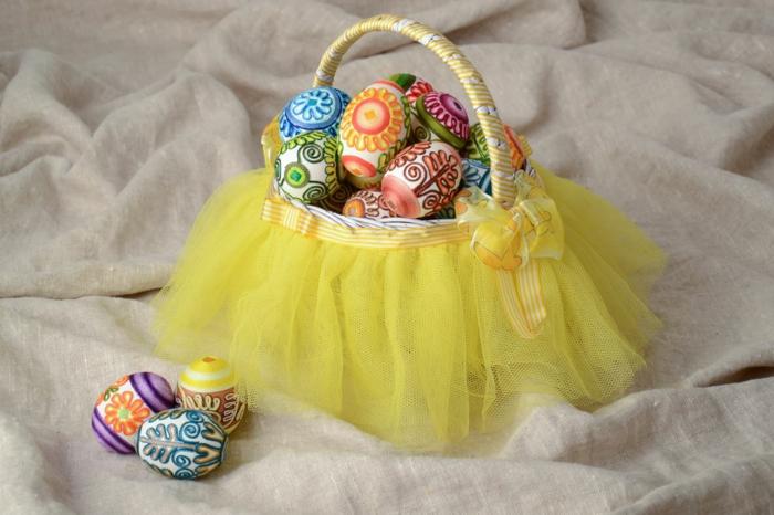 panier de Pâques déco en tulle