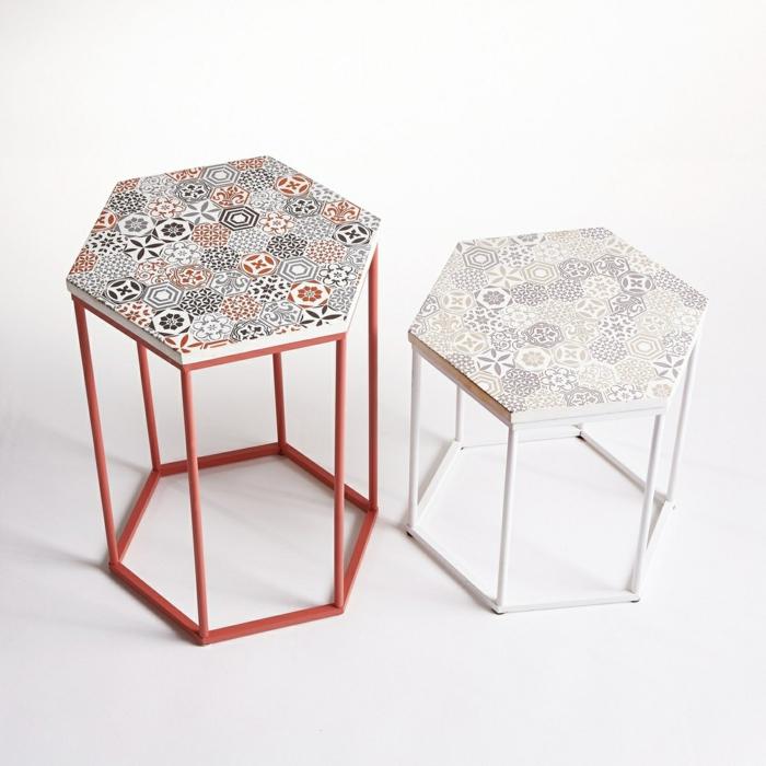 petite table basse plateau carreau de ciment