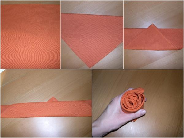 pliage serviette pâques bouton de rose