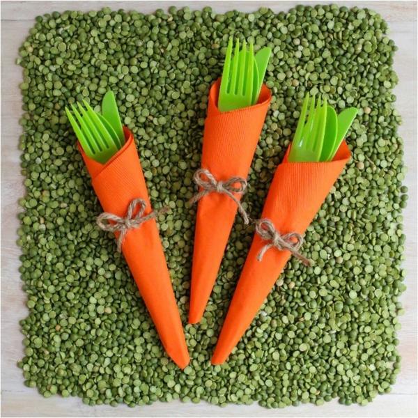 pliage serviette pâques carottes