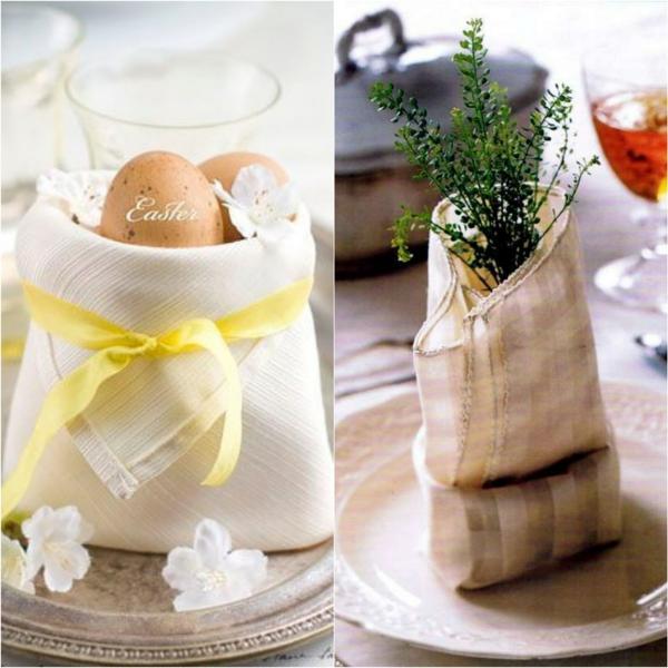 pliage serviette pâques déco plantes et fleurs