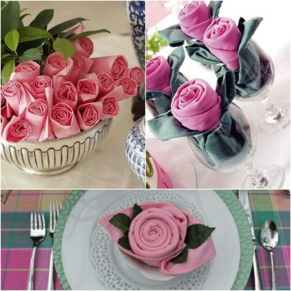 pliage serviette pâques diy bouton de rose