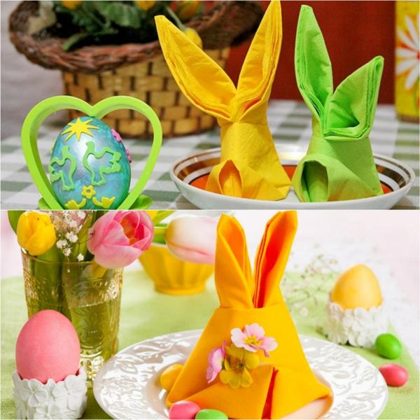 pliage serviette pâques lapin coloré