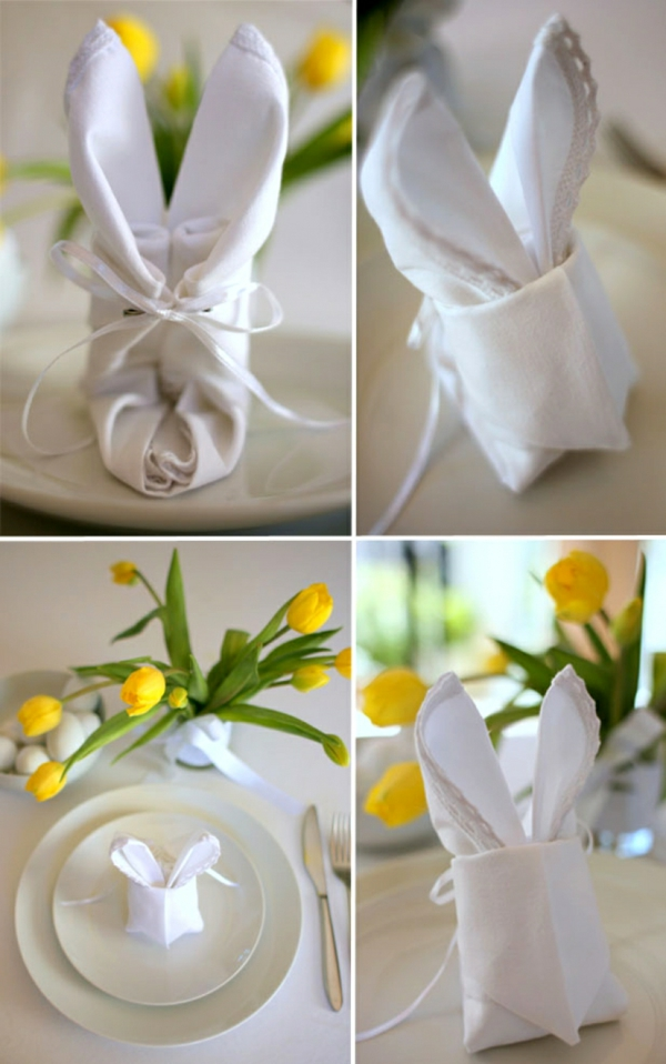 pliage serviette pâques lapin design