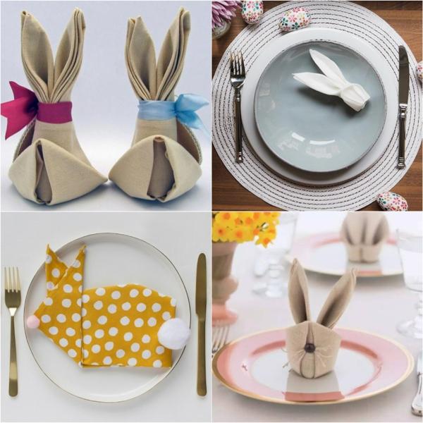 pliage serviette pâques lapins déco de table