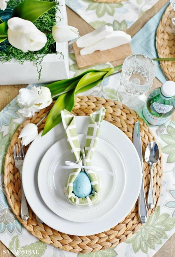 pliage serviette pâques tête de lapin textile
