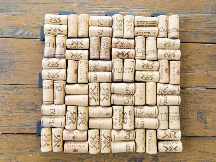 projet diy tapis avec bouchon de liège