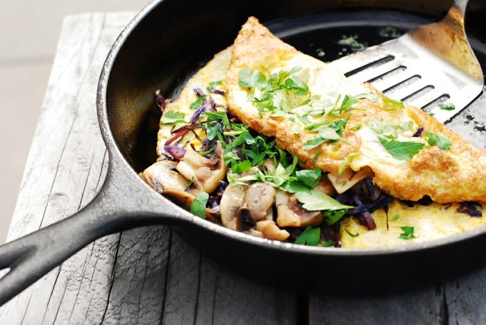recette omelette idée avec champignons