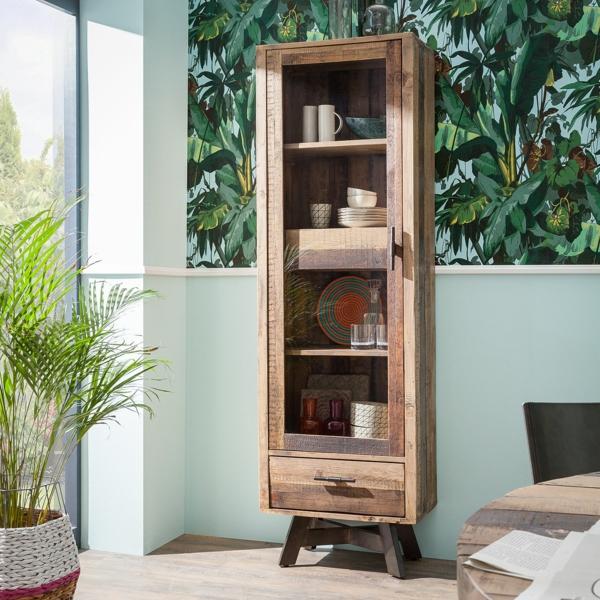 salon déco jungle armoire vitrée en bois massif