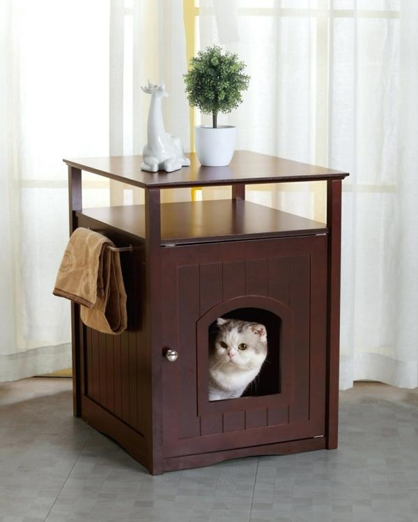 table d'appoint avec porte diy meuble cache litière