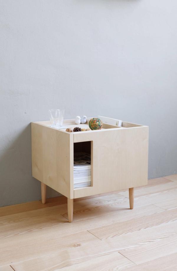 table d'appoint salon transformée en meuble cache litière