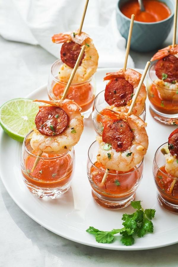 Brochette apéro idées de recettes qui mettent de leau à la bouche Chorizo crevettes curry
