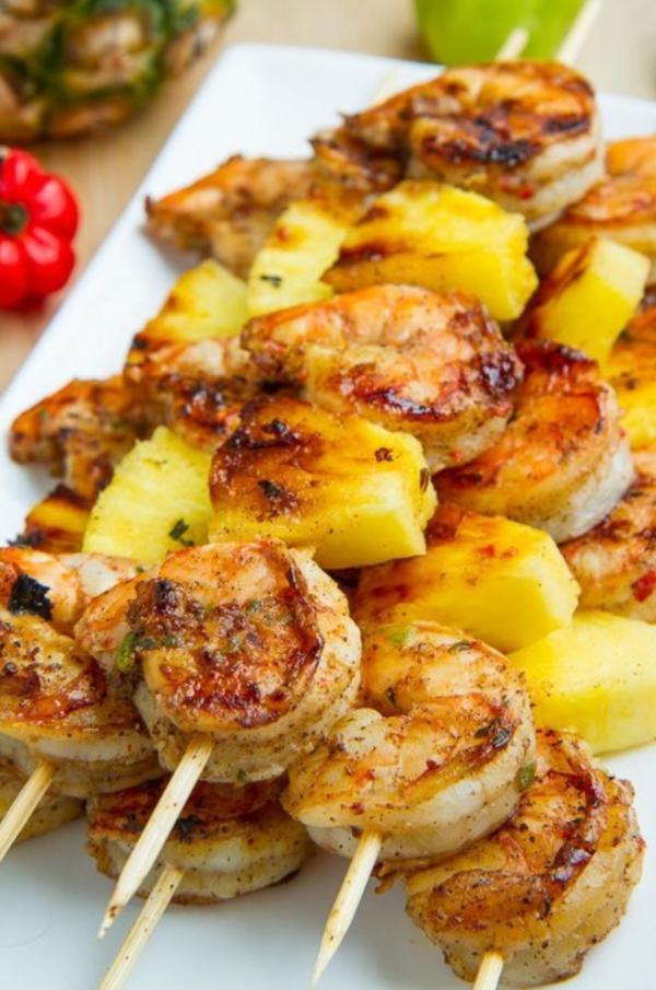 Brochette apéro - 70 idées de recettes qui mettent de l'eau à la bouche crevettes à la marinade ananas