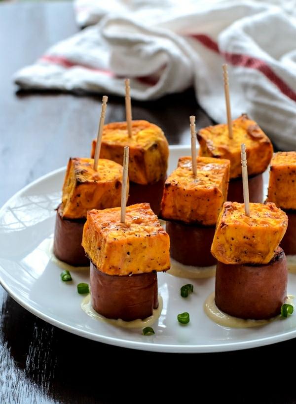 Brochette apéro - 70 idées de recettes qui mettent de l'eau à la bouche patate douce saucisse