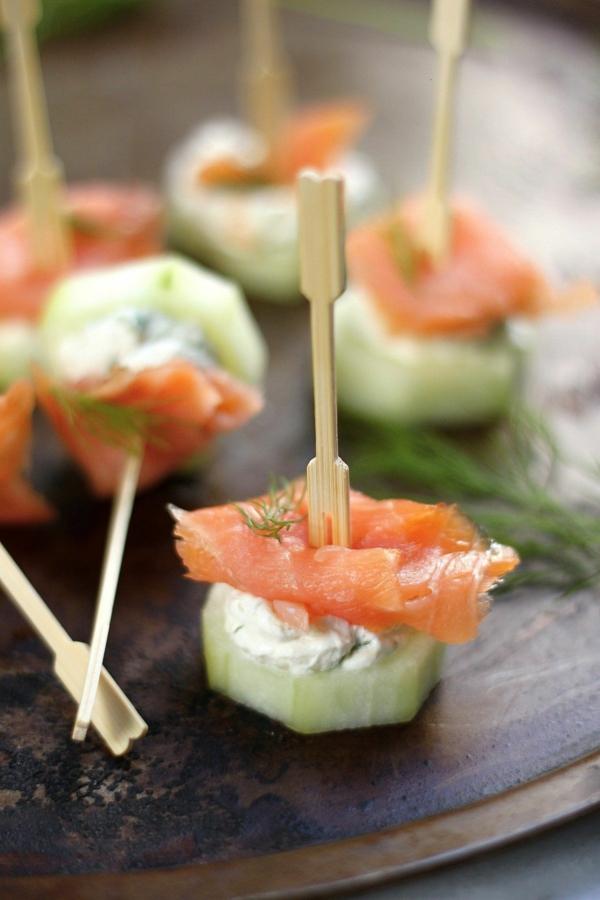 Brochette apéro - 70 idées de recettes qui mettent de l'eau à la bouche saumon concombre fromage crème