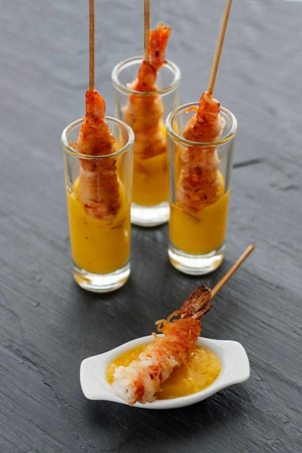 Brochette apéro - 70 idées de recettes qui mettent de l'eau à la bouche spaghetti crevettes sauce curry