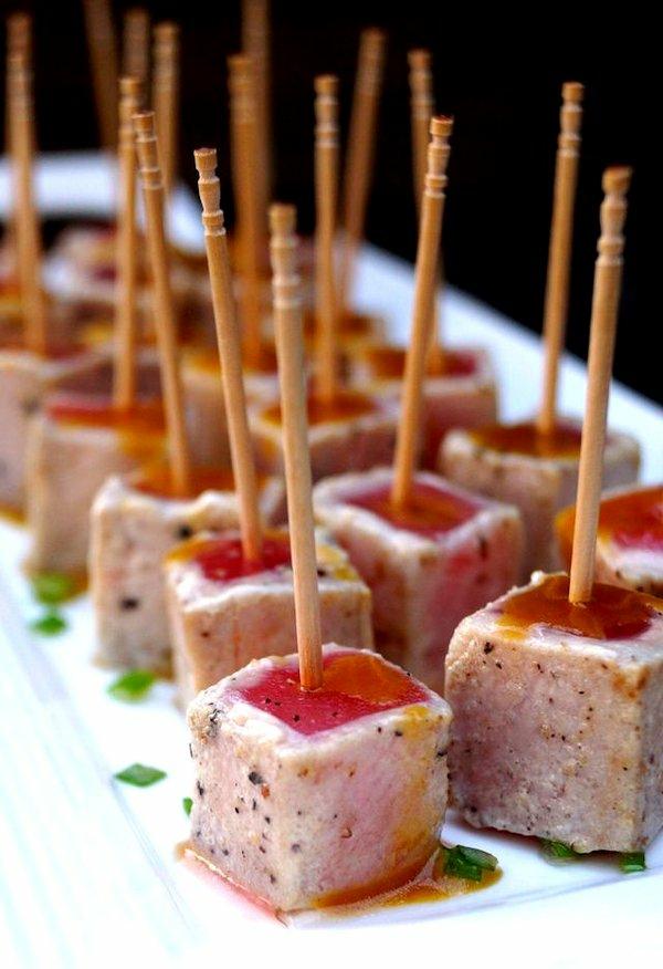 Brochette apéro - 70 idées de recettes qui mettent de l'eau à la bouche thon aux épices sauce Wasabi