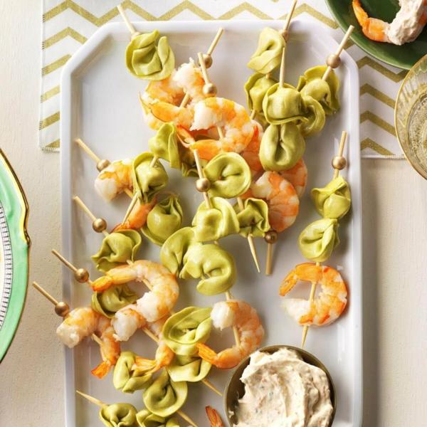 Brochette apéro - 70 idées de recettes qui mettent de l'eau à la bouche tortellini crevettes sauce