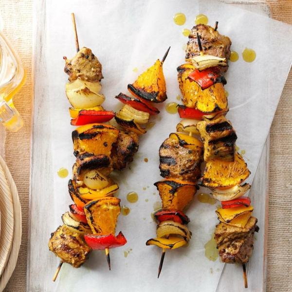 Brochette apéro - 70 idées de recettes qui mettent de l'eau à la bouche viande de porc orange sauce curry