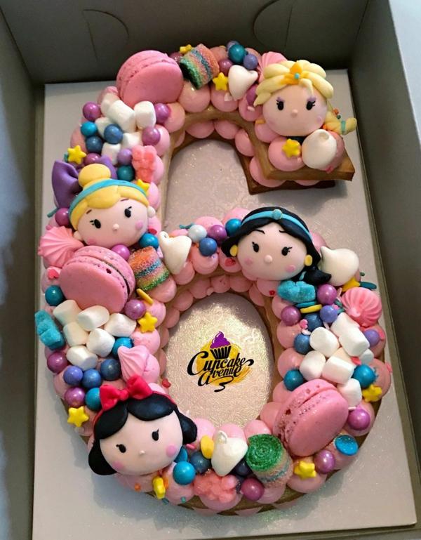 Gâteau chiffre pour anniversaire 6 pâte à sucre candy macarons