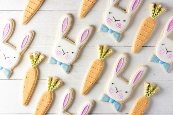 Pâtisserie lapin de Pâques - recettes faciles et beaucoup d'idées diy biscuits lapins et carottes