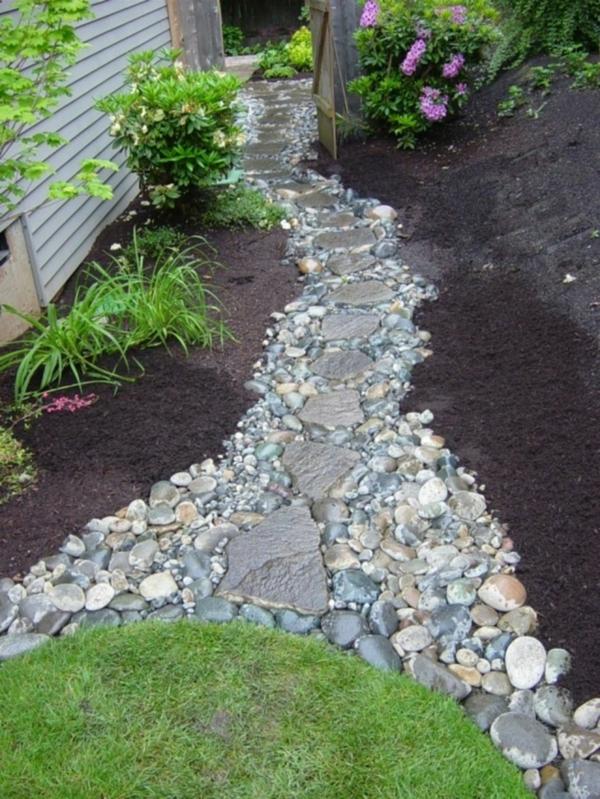 Rivière sèche à créer soi-même dans le jardin allée de jardin